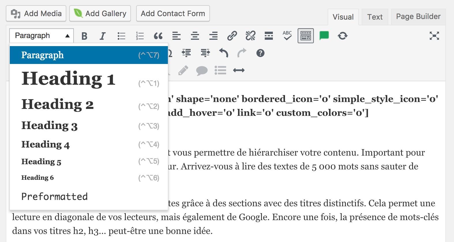 Utilisation des balises h1, h2, h3 sous WordPress